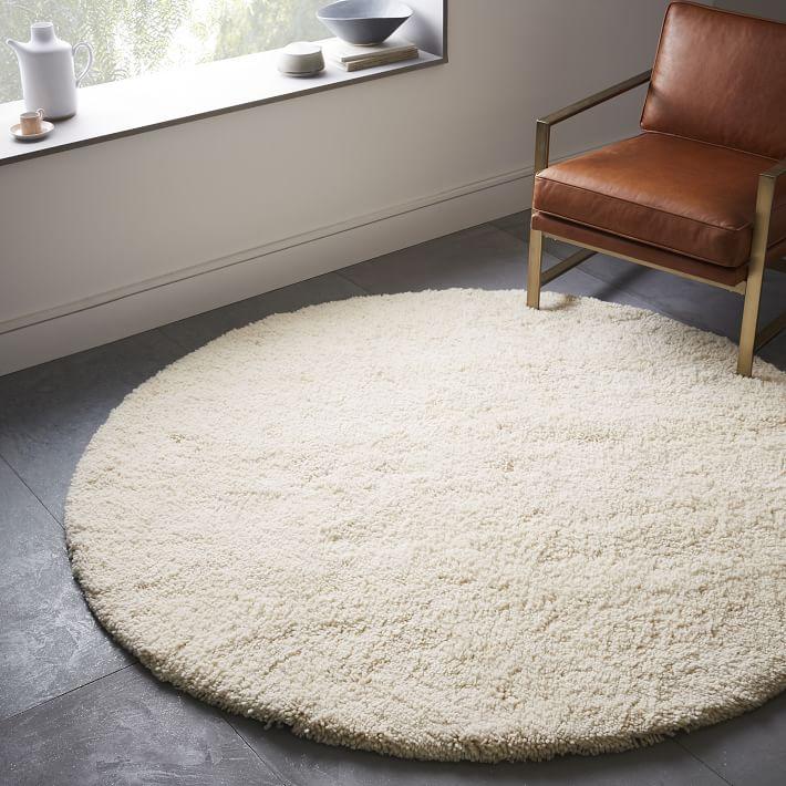darby wool shag rug - round | west elm HRUKVCJ