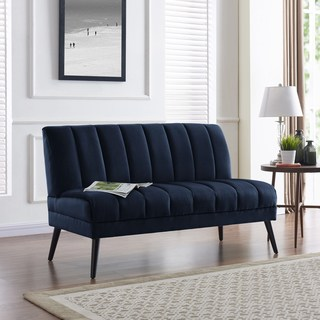design loveseat handy living houston navy blue velvet mid-century modern armless loveseat XLCVDXT