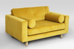 design loveseat sofa, loveseat modern design yellow cloth rectangular shape comfortable to  sit two QLRKIZV