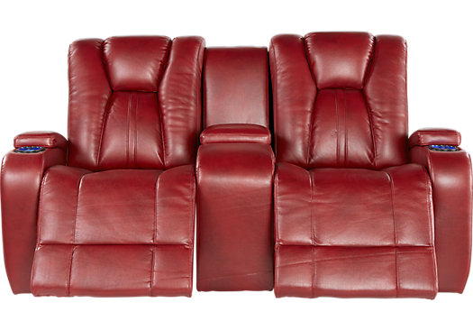 electric reclining loveseat $1,379.99 - kingvale red power reclining console loveseat - contemporary,  polyester ZPQEXOB