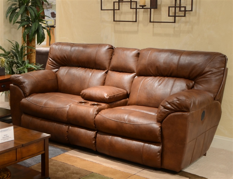 electric reclining loveseat nolan leather power reclining console loveseat by catnapper - 64049 WBZQKDU