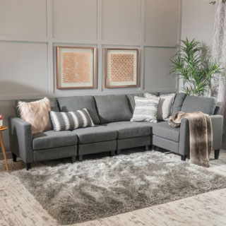 fabric couches zahra 5-piece fabric sofa sectional by christopher knight home (2 options  available) IYGMFST