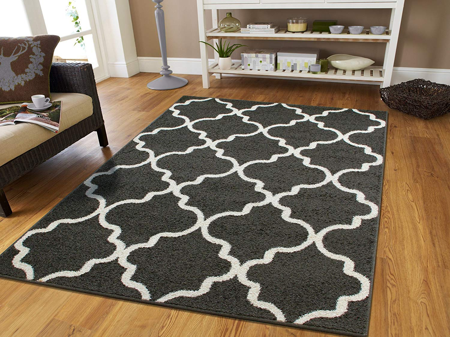 floor rugs amazon.com: large 8x11 morrocan trellis area rug gray contemporary rugs  8x10 for NSPWFDS