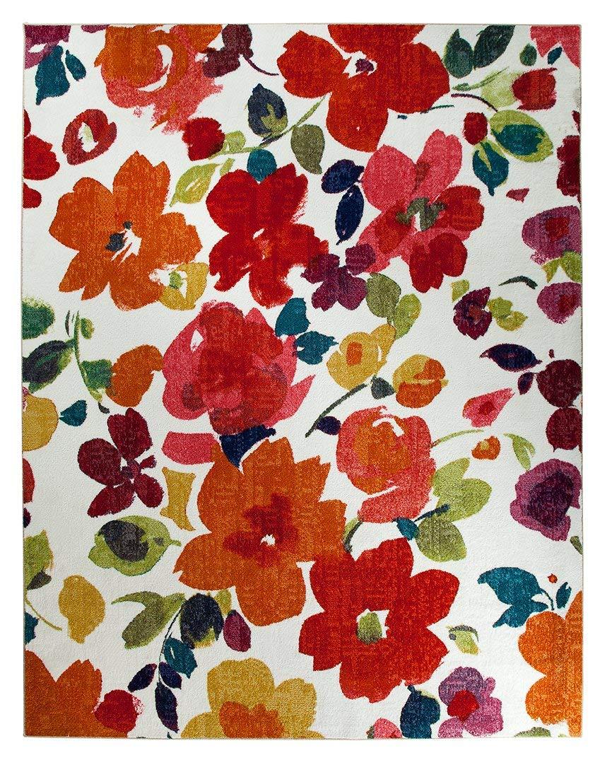 floral rug amazon.com: mohawk home strata bright floral toss printed area rug,  7u00276x10u0027, multicolor: SIGEIXZ