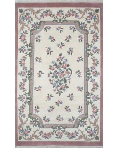 floral rug french country aubusson ivory/rose floral area rug VQXUSOV