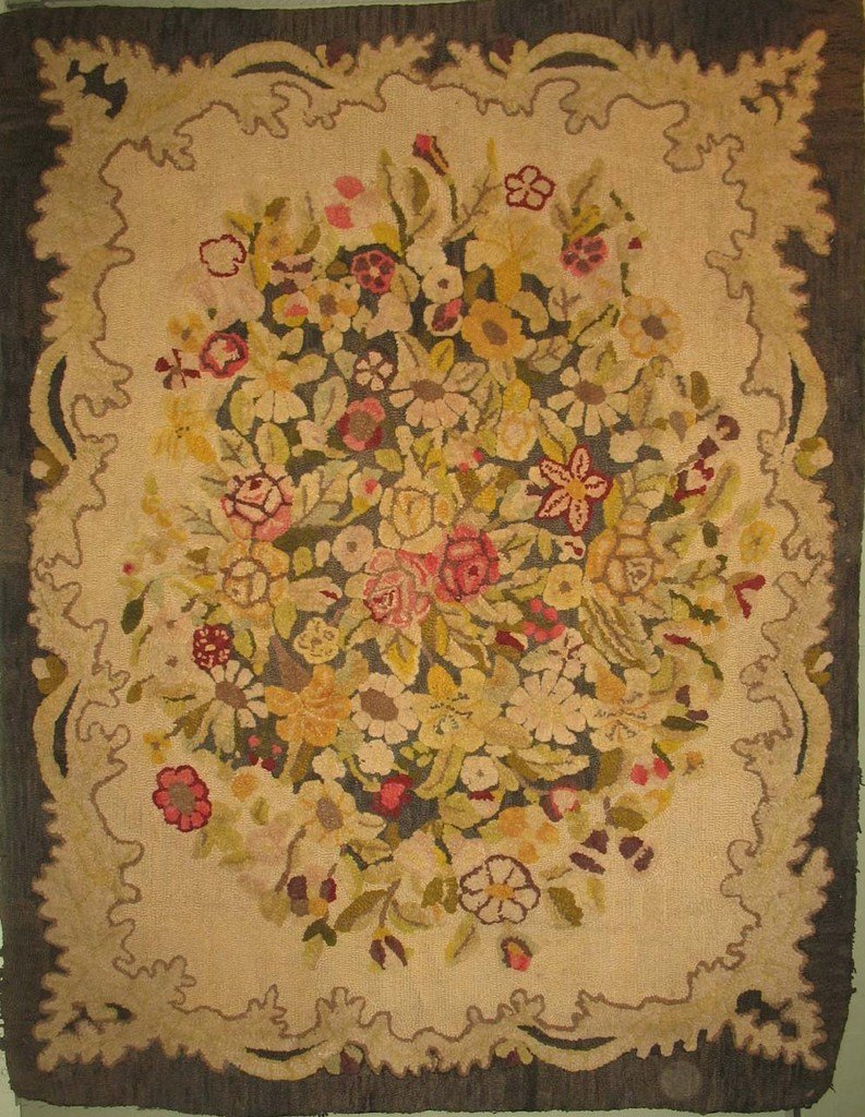 florals flourish in antique hooked rugs QYPHHJS