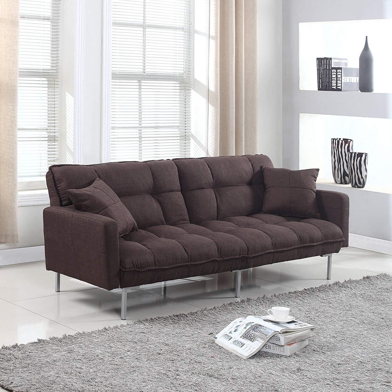 futon sofa amazon.com: modern plush tufted linen fabric sleeper futon: kitchen u0026 dining QJSBZXJ