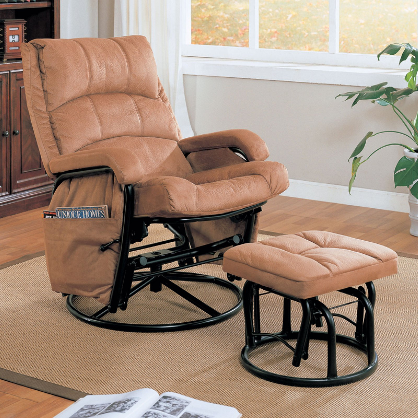 glider recliners coaster microfiber glider recliner and ottoman in brown HKYORLP