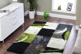 Green area rugs ... soft indoor bedroom shag area rug black with grey and green 5u0027 EDABMTU