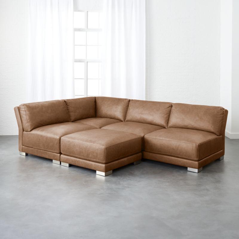 gybson 4-piece cognac leather sectional sofa EZSUJNX