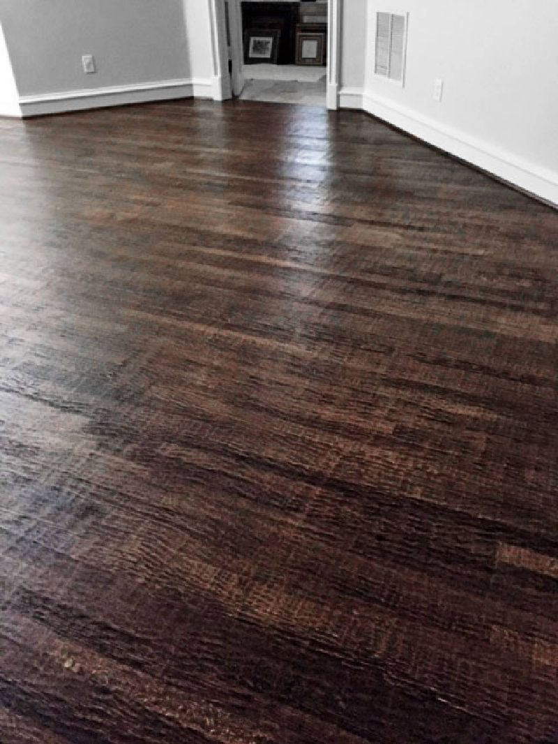 hand scraped wood floors hand scraped, water base 2¼u2033 rift and ¼u2033 finish select red oak, custom JMGSMTB