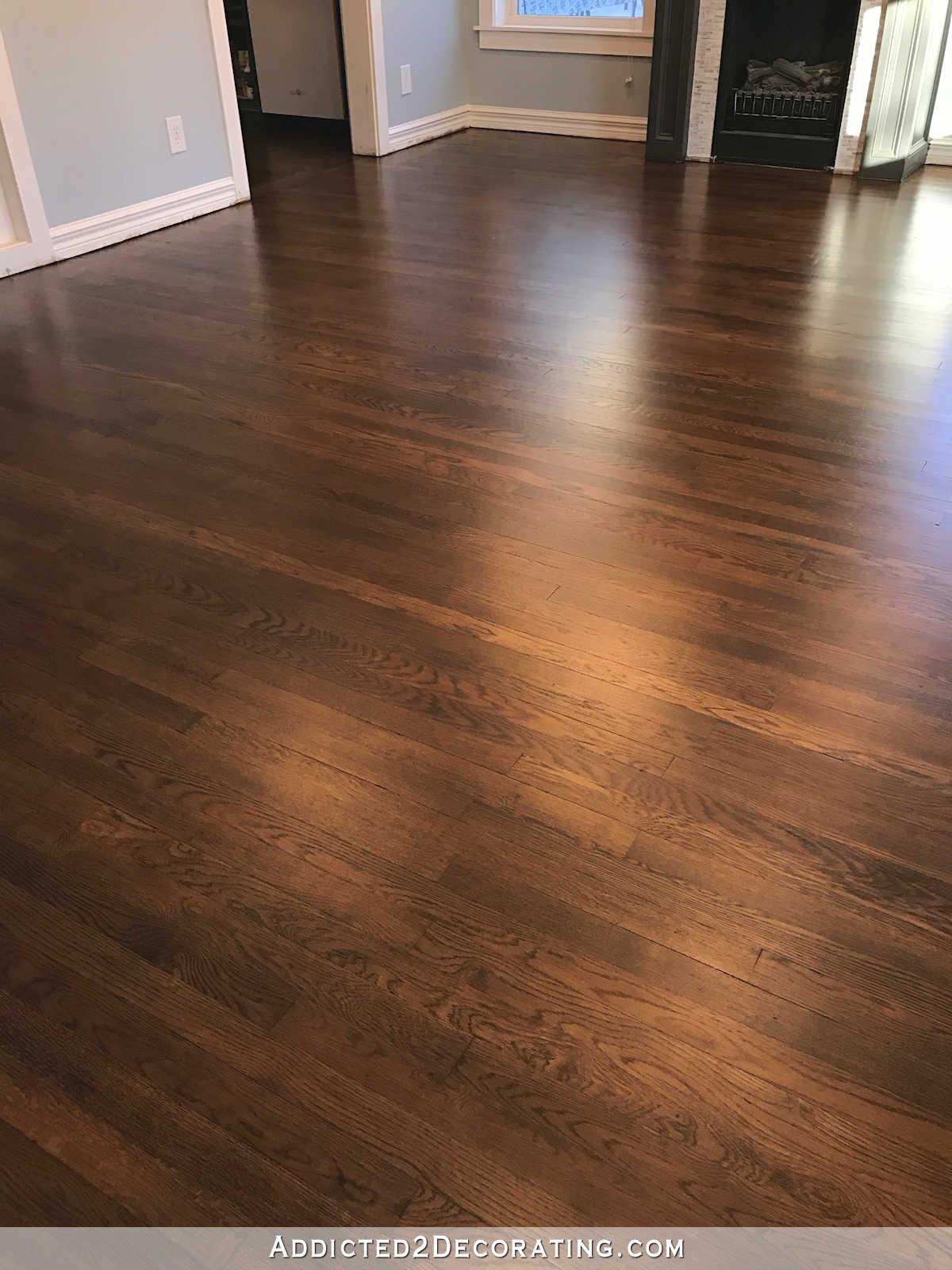 hardwood floor refinished red oak hardwood floors - entryway and living room TGJNCNG