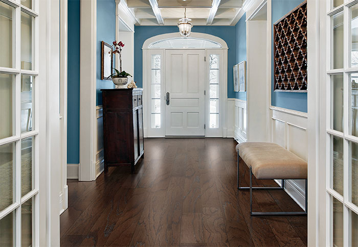 hardwood flooring ideas deep-tone engineered wood flooring in a formal foyer. IXZZAEI