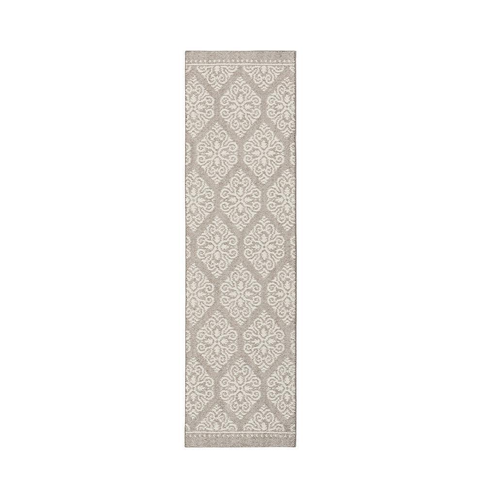 home decorators collection taurus grey cream 2 ft. x 7 ft. runner rug BTGDMES