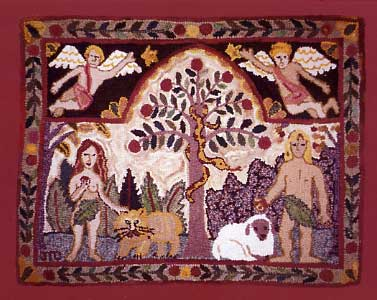 hooked rugs adam and eve rug - sold KBTZWHA