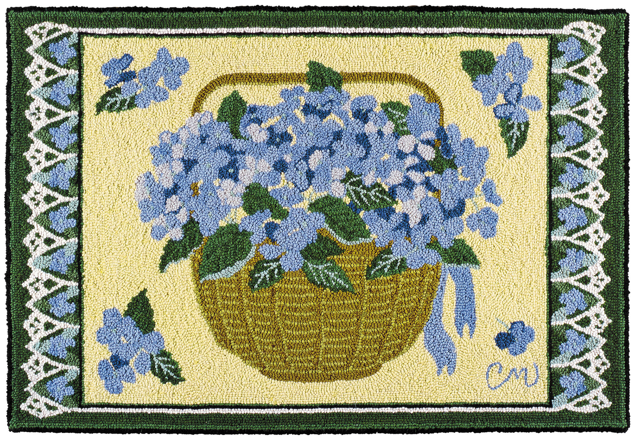 hooked rugs claire murray hydrangea basker 2 x 3 hand hooked rug DGZWUFE