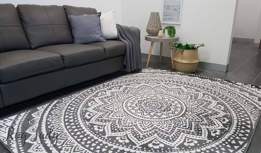 industry mandala grey and natural white modern rugs TVZEVWG