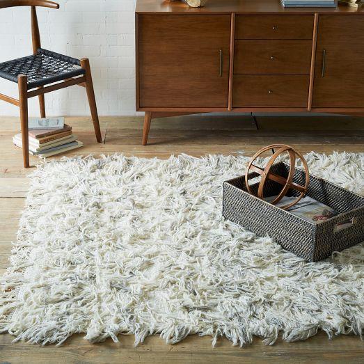ivory chevron wool shag rug PMBSCLU