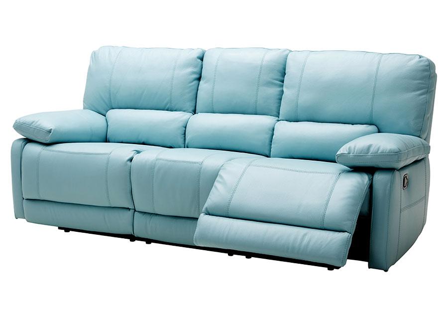 kuka maui light blue reclining sofa leather match VGEWDSC