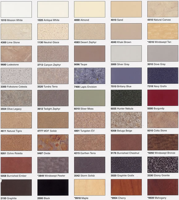 Laminate colors ... colors for plastic laminate partitions: plasticlaminate BKNBLUI