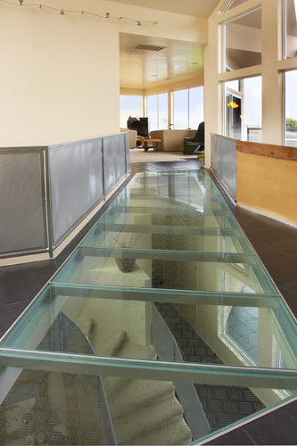 laminated glass floor system ... this custom glass sky-bridge is made of structural laminated glass  planks MJJTJIK