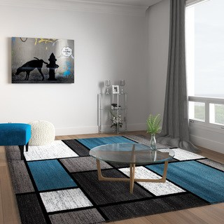 large area rugs contemporary modern boxes blue/grey area rug - 7u002710 BMPJIYW