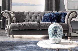 large velvet button upholstered italian sofa VVVRXCX