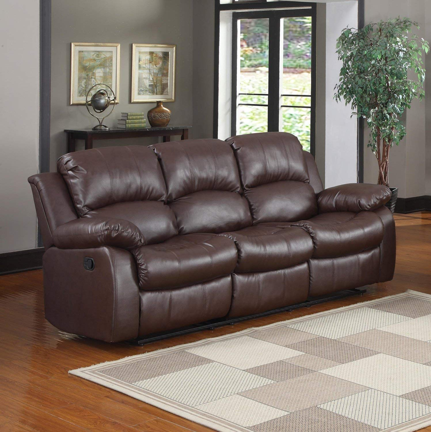 leather reclining sofa amazon.com: bonded leather double recliner sofa living room reclining couch  (brown): kitchen CGNKTIV