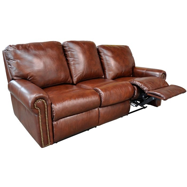 leather reclining sofa fairmont reclining sofa by omnia leather (chaise footrests) SMCZGXQ