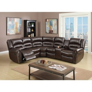 leather sectional sofa bonded leather 3 piece reclining sectional, brown QNAHGCN