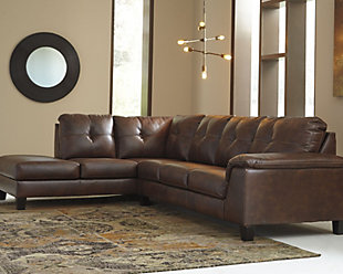 leather sectional sofa ... large goldstone 2-piece sectional, , rollover DZBBUMD