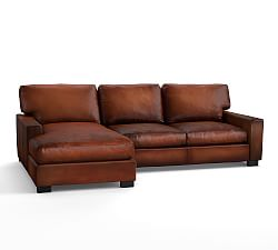 leather sectional sofa turner square arm leather sofa with chaise sectional ... JLDVZKZ