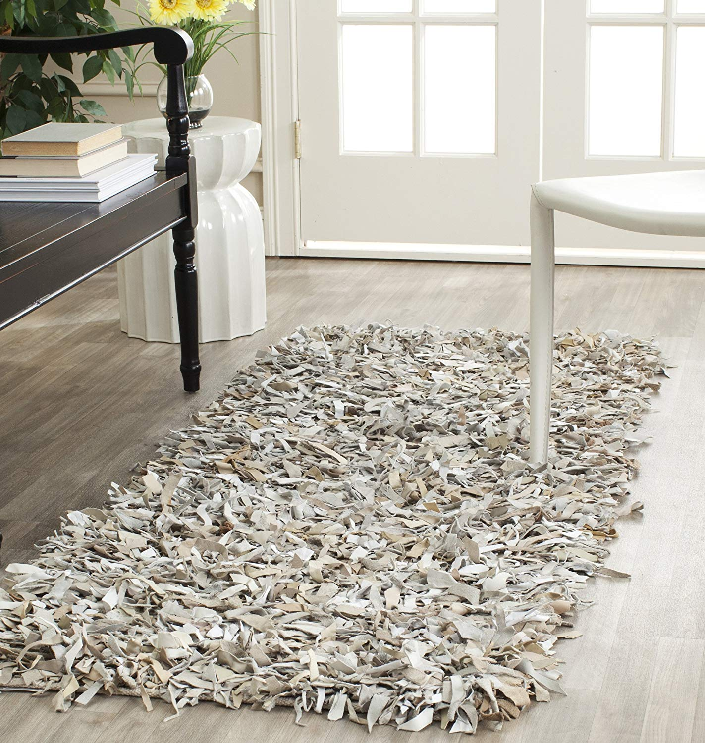 Leather shag rugs amazon.com: safavieh leather shag collection lsg511c hand woven white  leather runner (2u00273 CZYSUIY