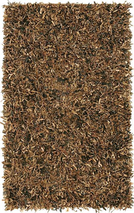Leather shag rugs brown leather shag 5u0027x8u0027 rug LNPOJXA