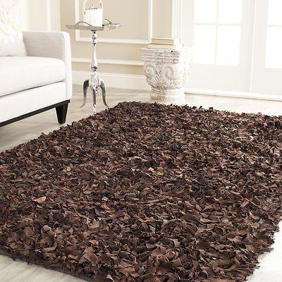 Leather shag rugs brown leather shag rug - cheap XHAJMSX