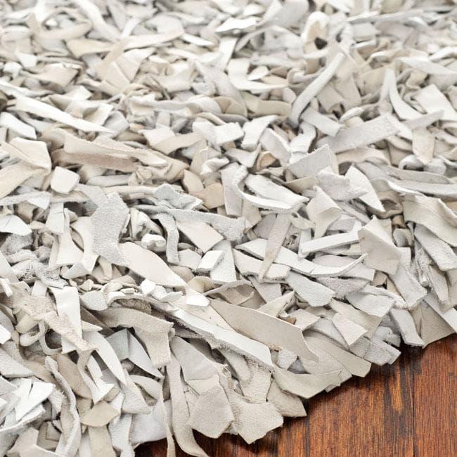 Leather shag rugs safavieh handmade metro modern grey/ white leather decorative shag rug -  4u0026#x27; GAXKQZM