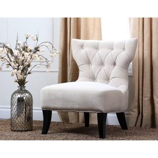 living chairs abbyson sedona light cream microsuede nailhead chair NJTWKZH