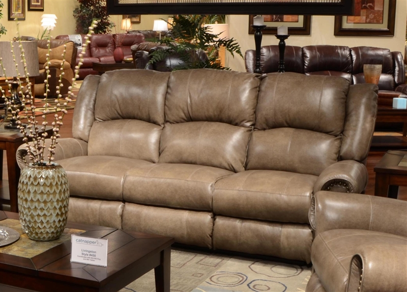 livingston power leather reclining sofa with drop down table by catnapper - CUOTTPK