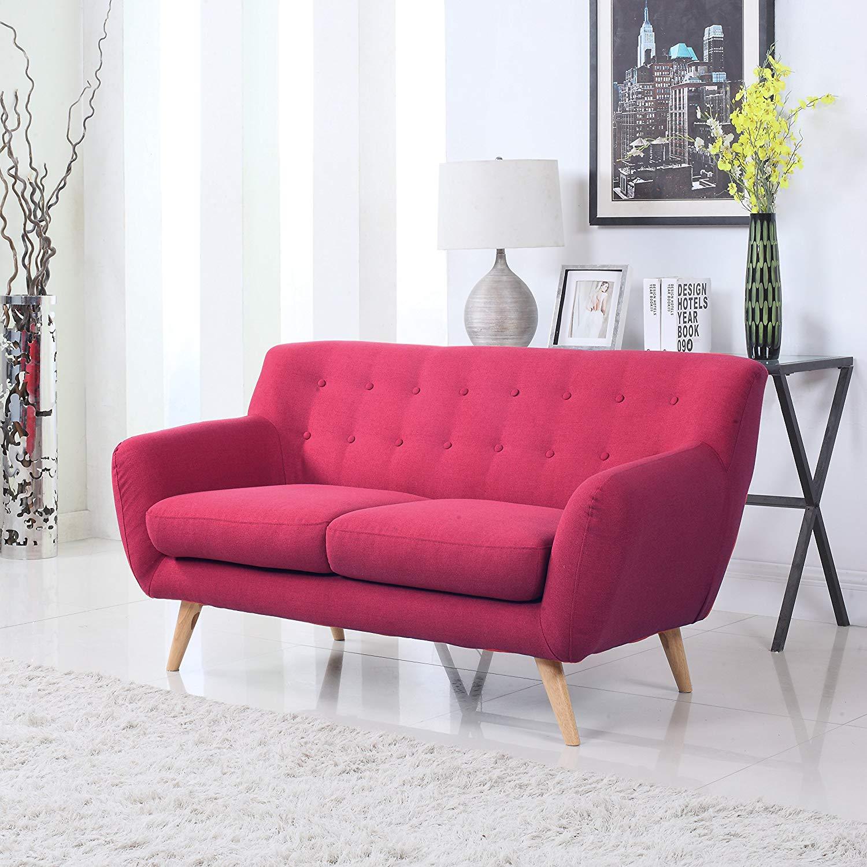 Love seat sofa amazon.com: mid-century modern linen fabric sofa, loveseat in colors light  grey, polo WKRMDRG