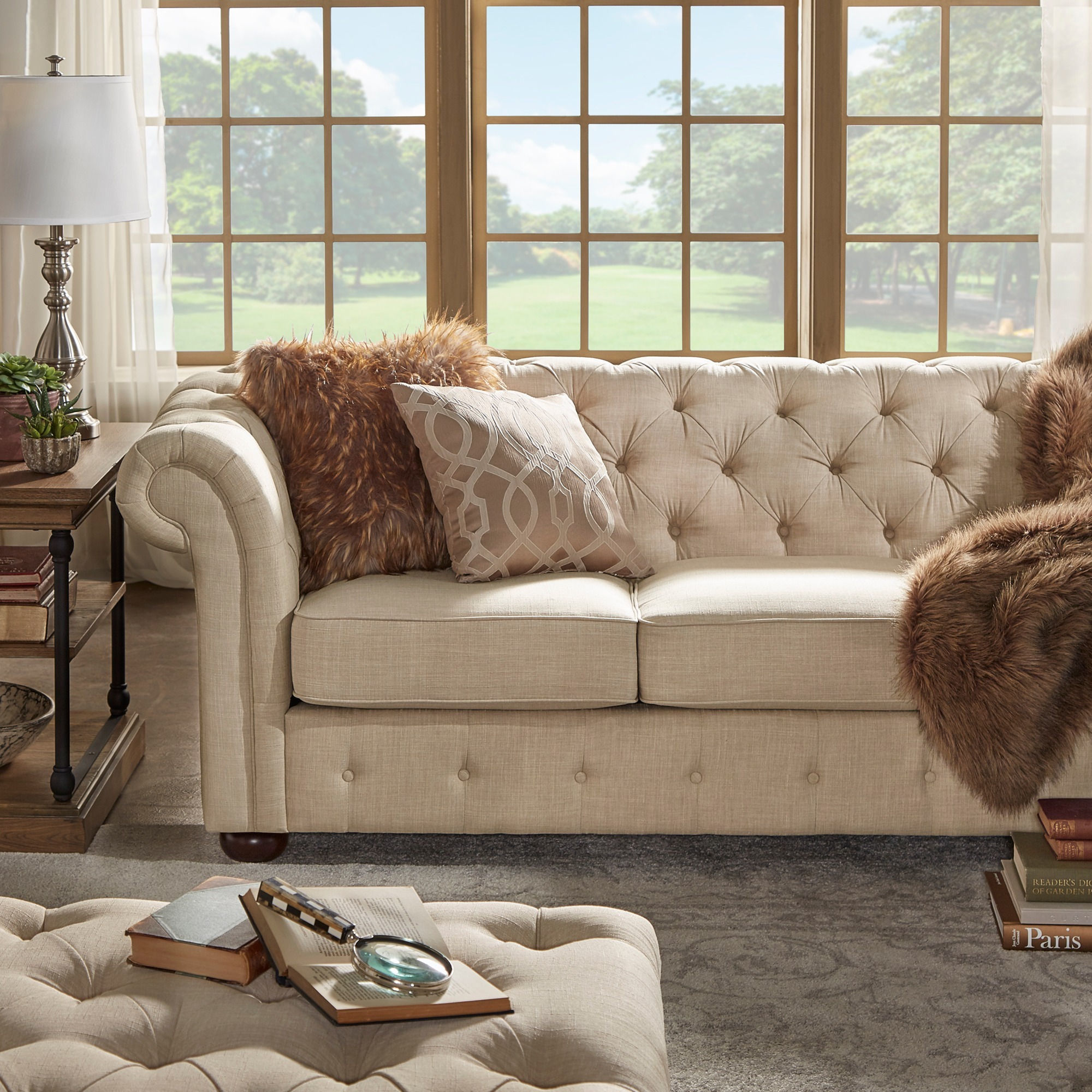 loveseat and sofa knightsbridge beige fabric button tufted chesterfield sofa and room set by  inspire LQNSFZQ