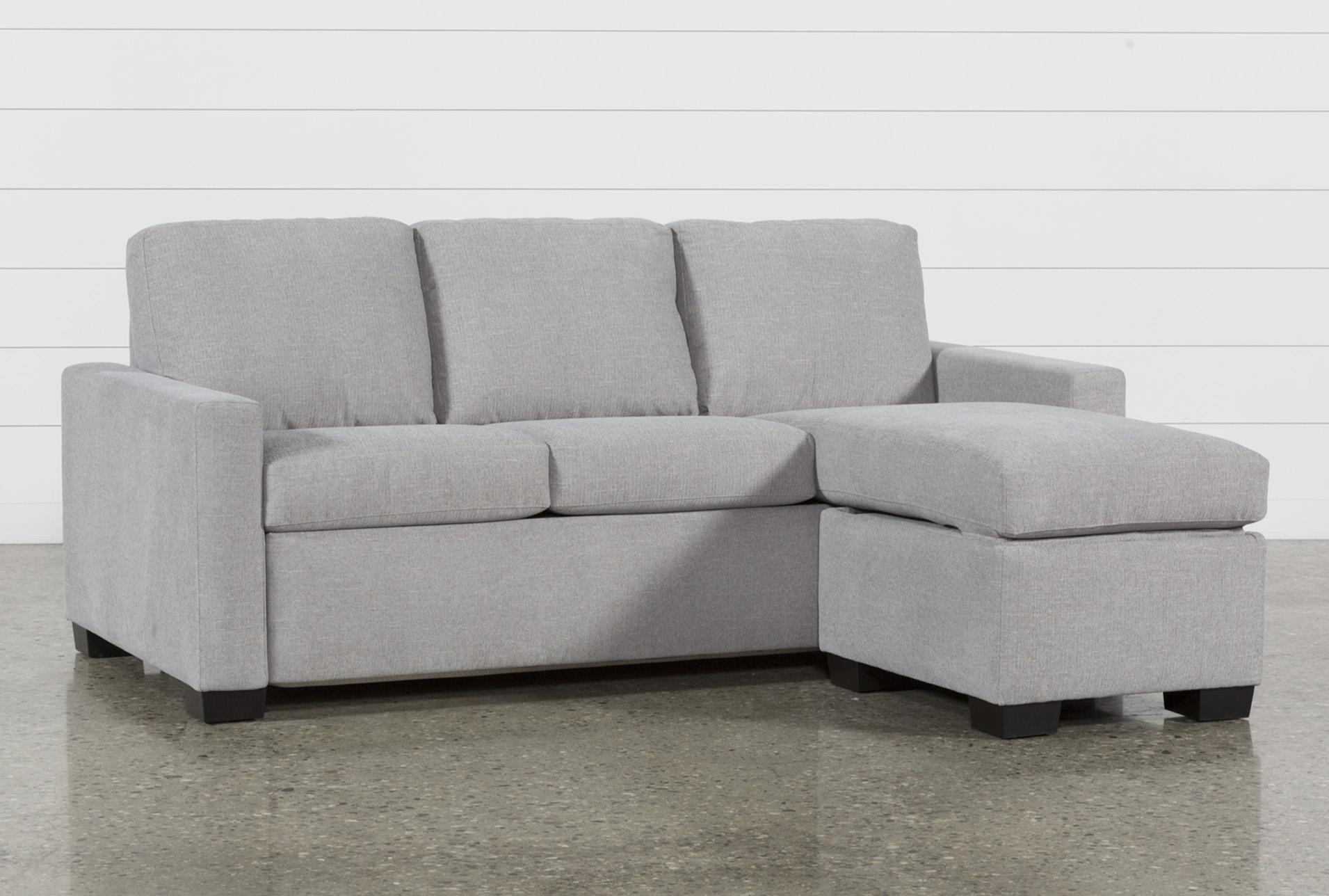 mackenzie silverpine queen plus sofa sleeper w/ storage chaise | living  spaces IGQEBBH