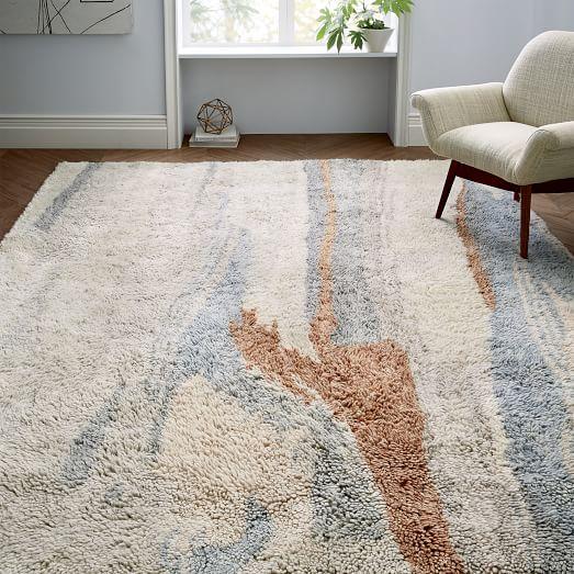 marbled wool shag rug - multi EAMWSUL