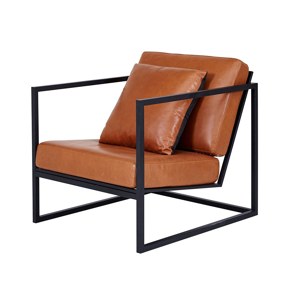 modern armchair modern designer stanley armchair - black metal frame/leather seating TYVEXVC