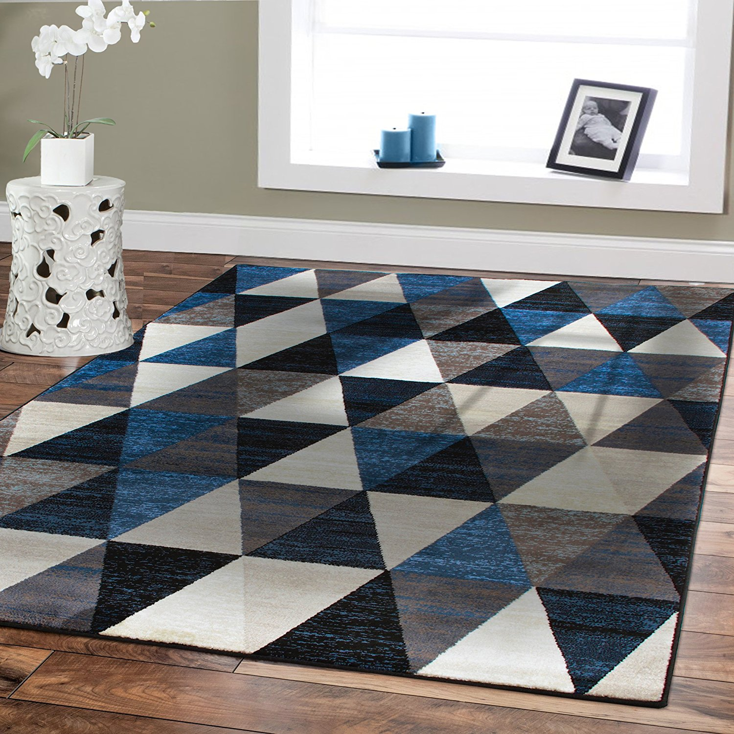 Modern carpets amazon.com: premium large rugs 8x11 modern rugs for brown sofa blue rugs HNXGRNA