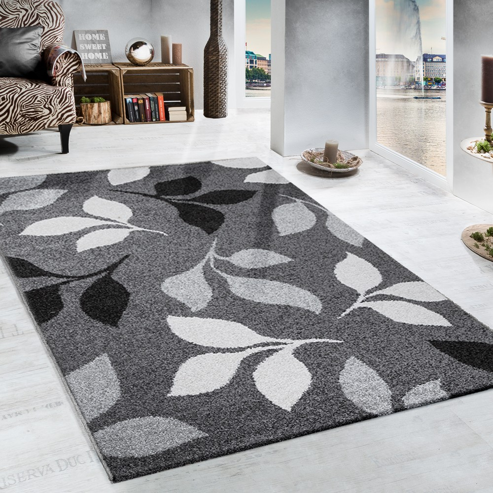 Modern carpets heavy woven rug floral design modern carpet in grey and black GIRCAXQ