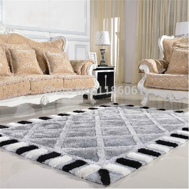 Modern carpets hot sale plaid modern carpet for livingroom and area shaggy rug of bedroom RNNGSTY