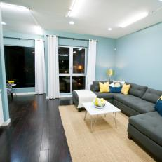 modern dark wood floors modern living room with dark wood floor and blue walls AHKQEDE