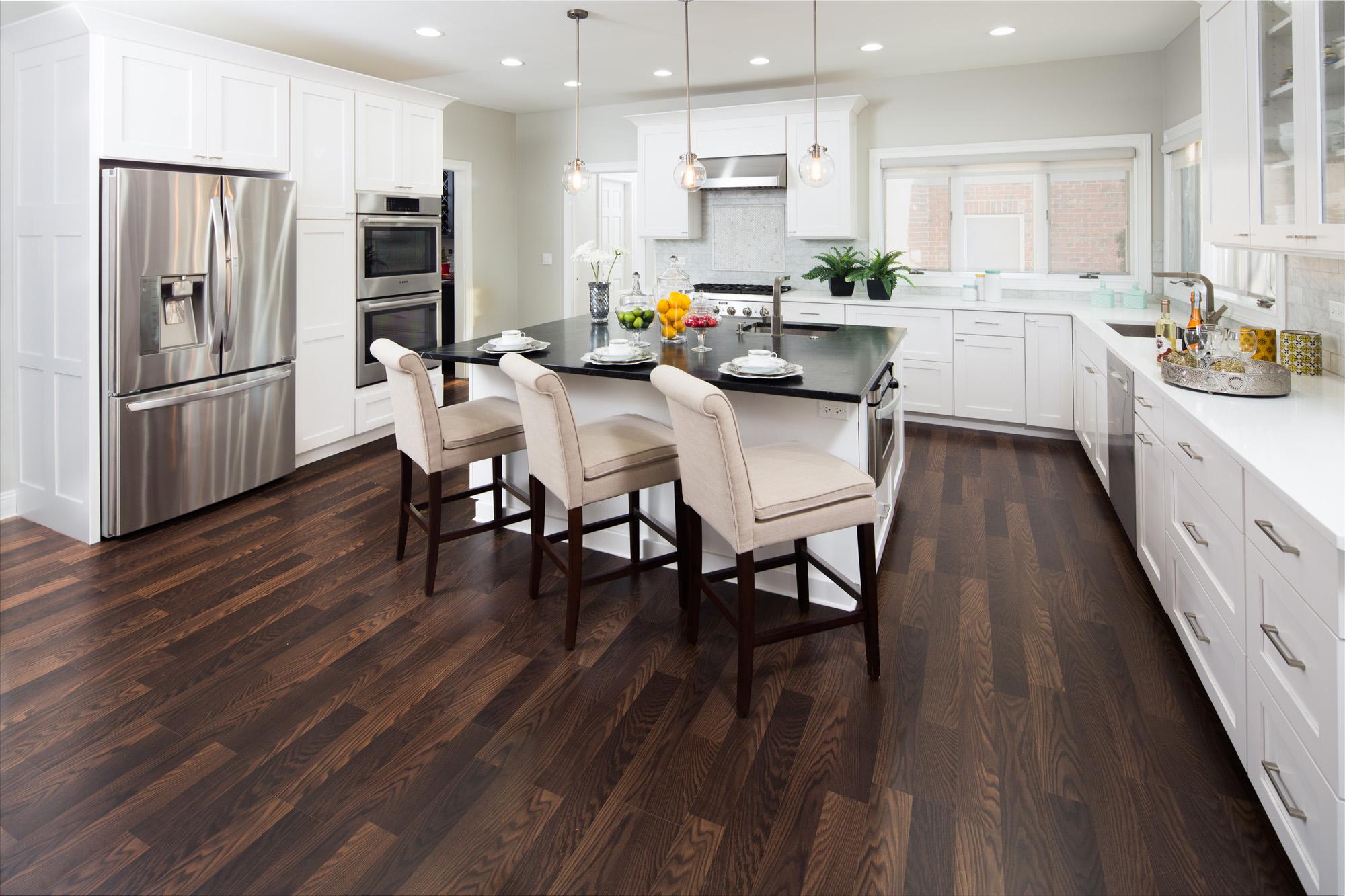 modern laminate flooring ... modern chocolate laminate in kitchen 2 ... VENFXID