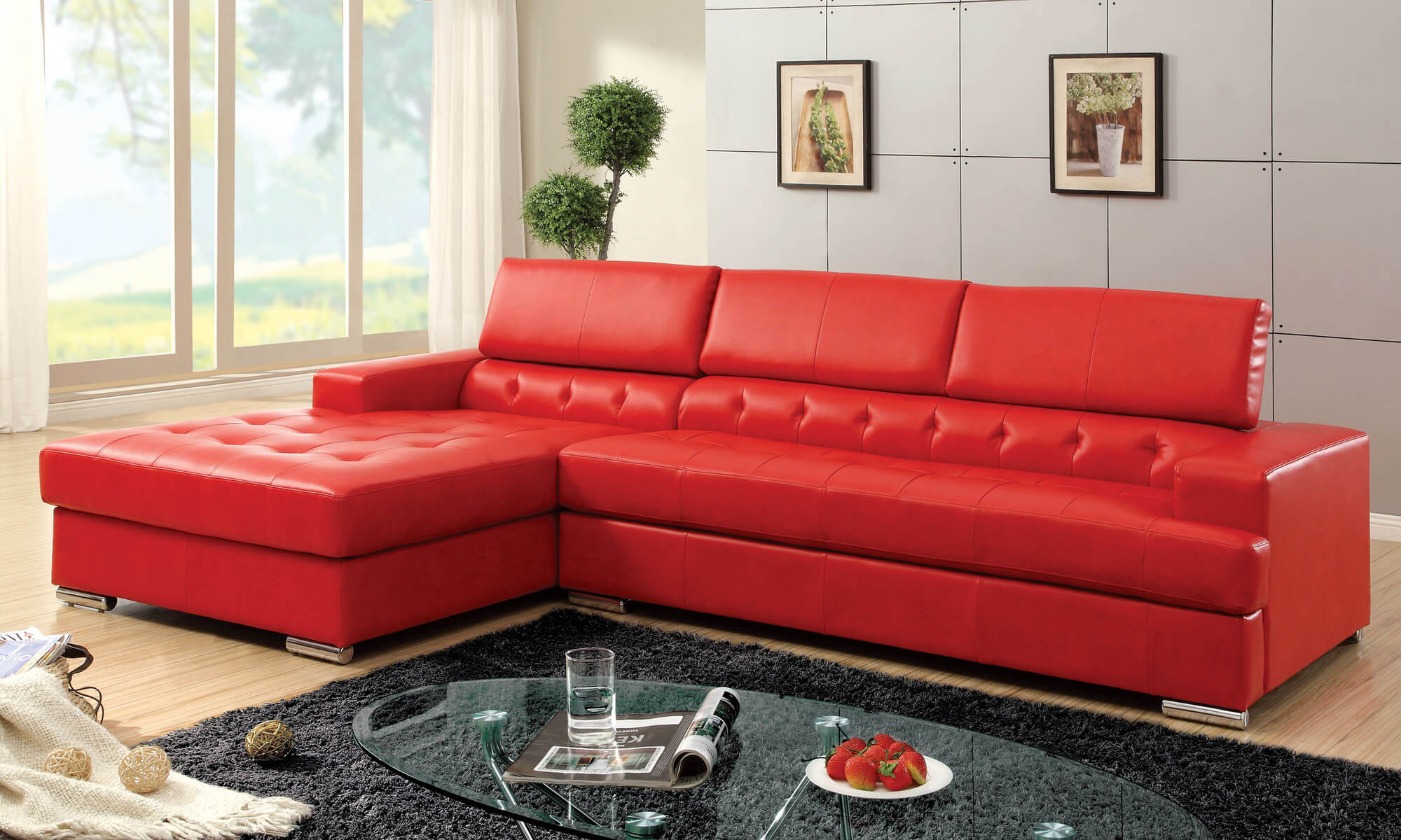Add some unique style with a red couch