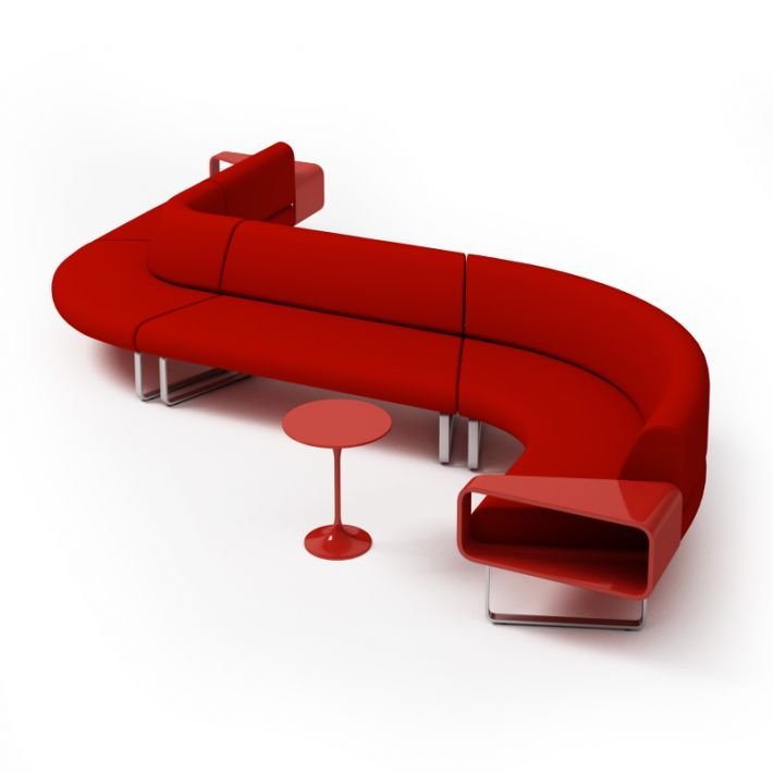 modern red couch with matching table 3d model BYLCUAC